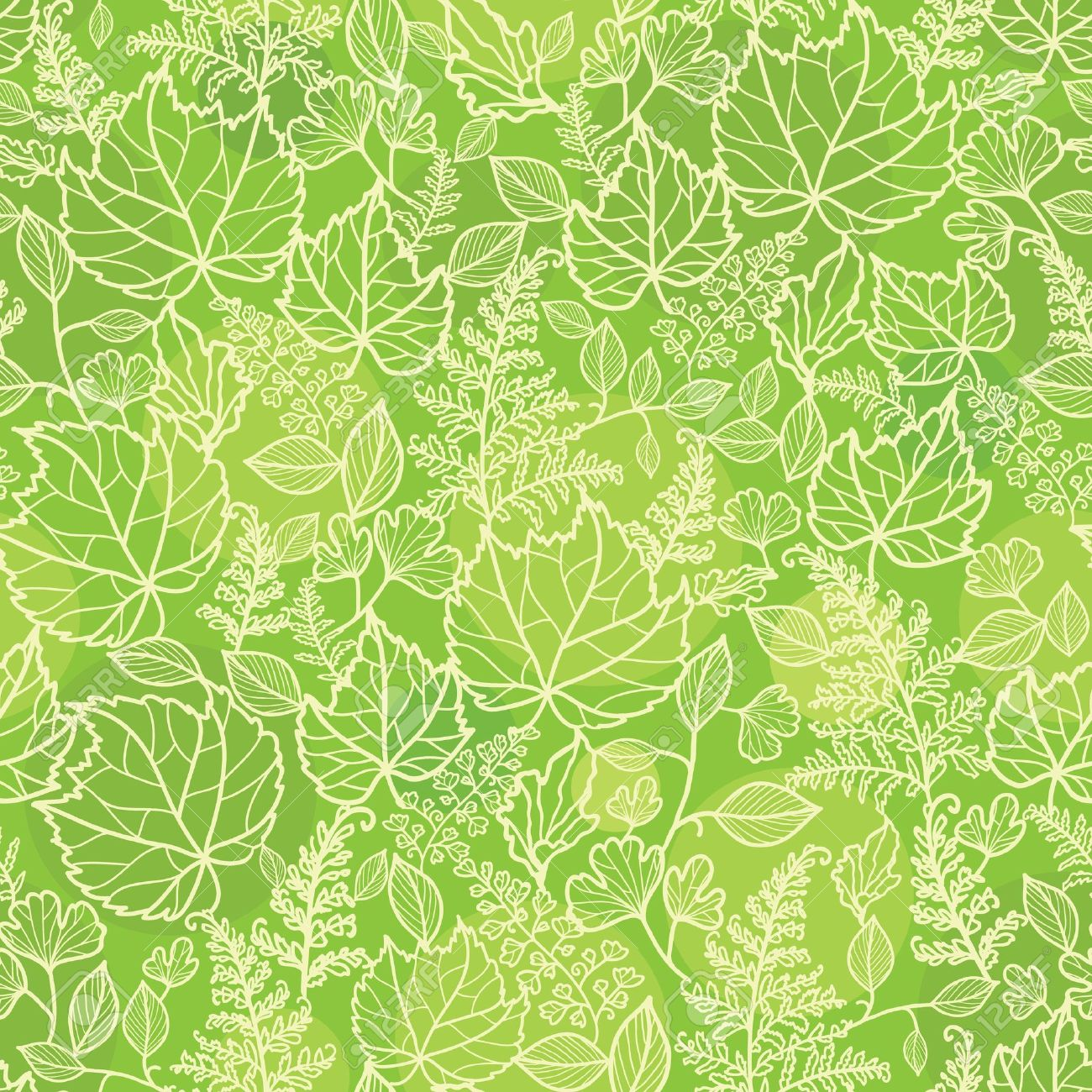 Green leaves lineart texture seamless pattern background Stock Vector - 20790841