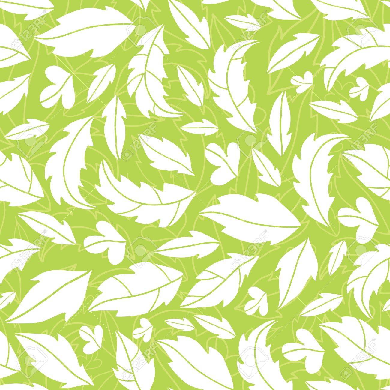 White On Green Leaves Silhouettes Seamless Pattern Background Stock