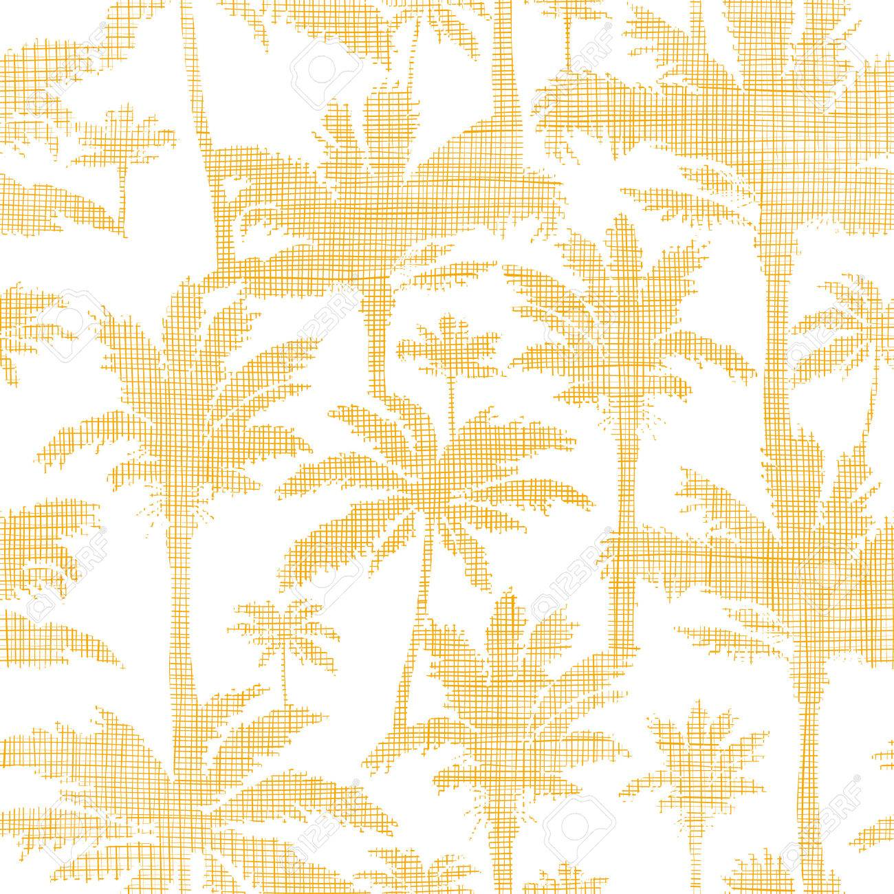 vector palm trees golden textile seamless pattern background - 30713499