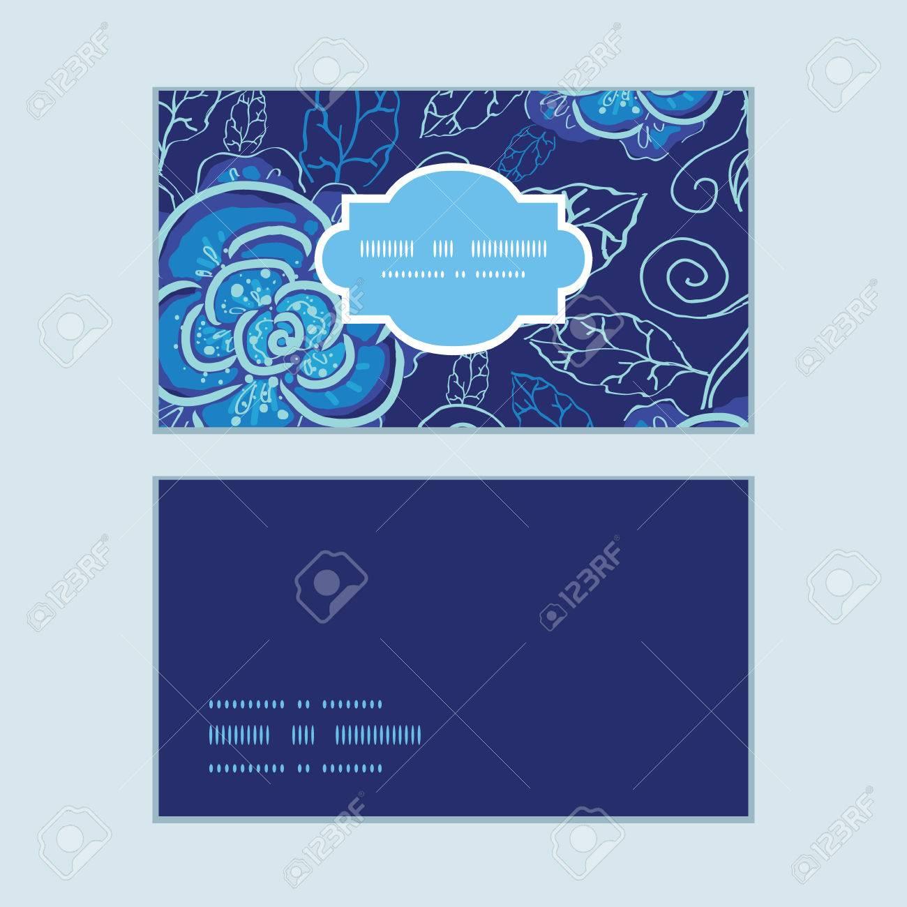 Vector Fleurs De Nuit Bleu Cadre Horizontal Modle Cartes Visite