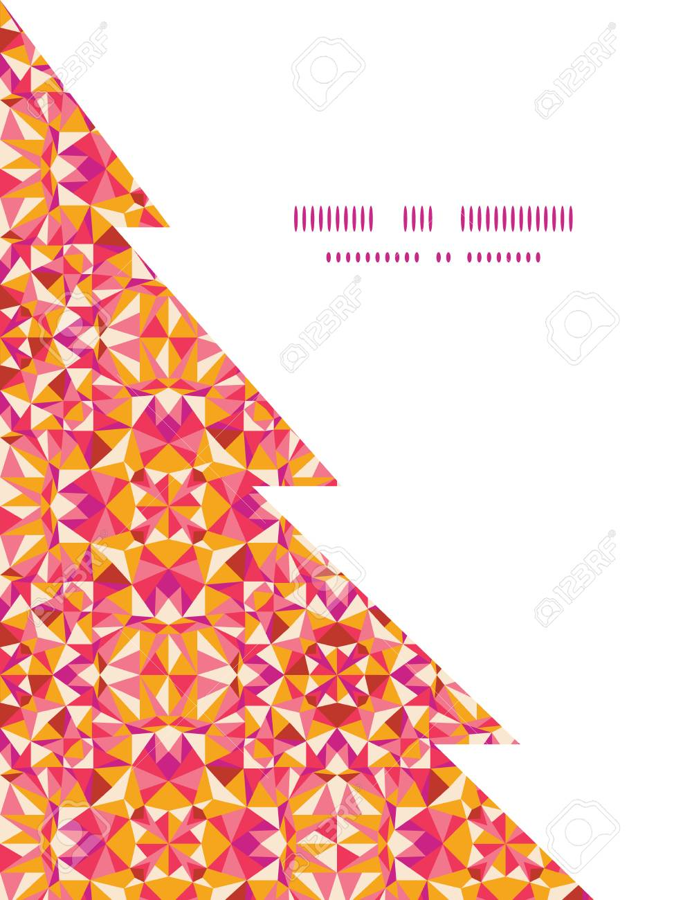 Colorido Textura Triángulo Plantilla árbol Silueta Tarjeta Marco ...