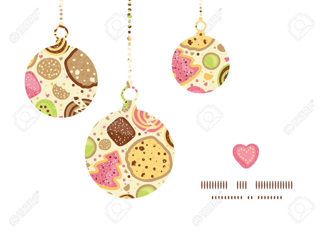 Christmas ornament frame - Vector Vector Colorful Cookies Christmas Ornaments Silhouettes Pattern Frame Card Template