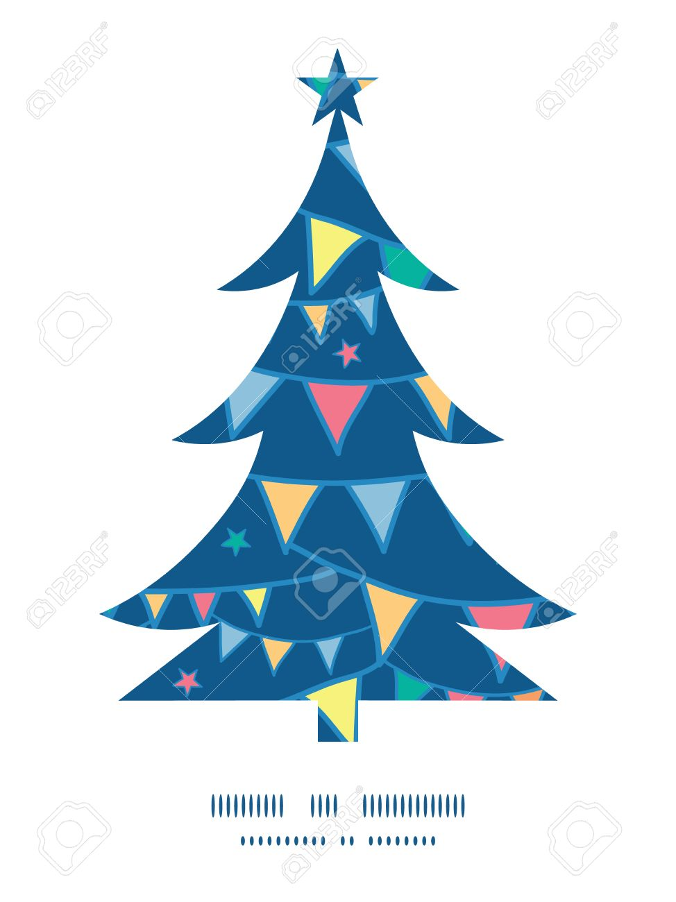 vector colorful doodle bunting flags christmas tree silhouette