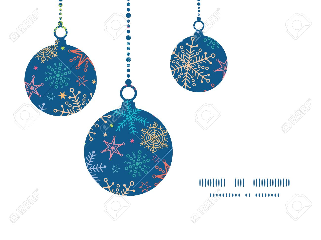 Christmas ornament frame - Vector Vector Colorful Doodle Snowflakes Christmas Ornaments Silhouettes Pattern Frame Card Template