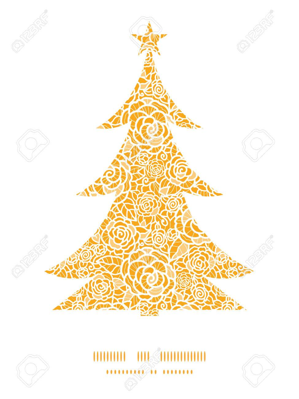 vector golden lace roses christmas tree silhouette pattern frame