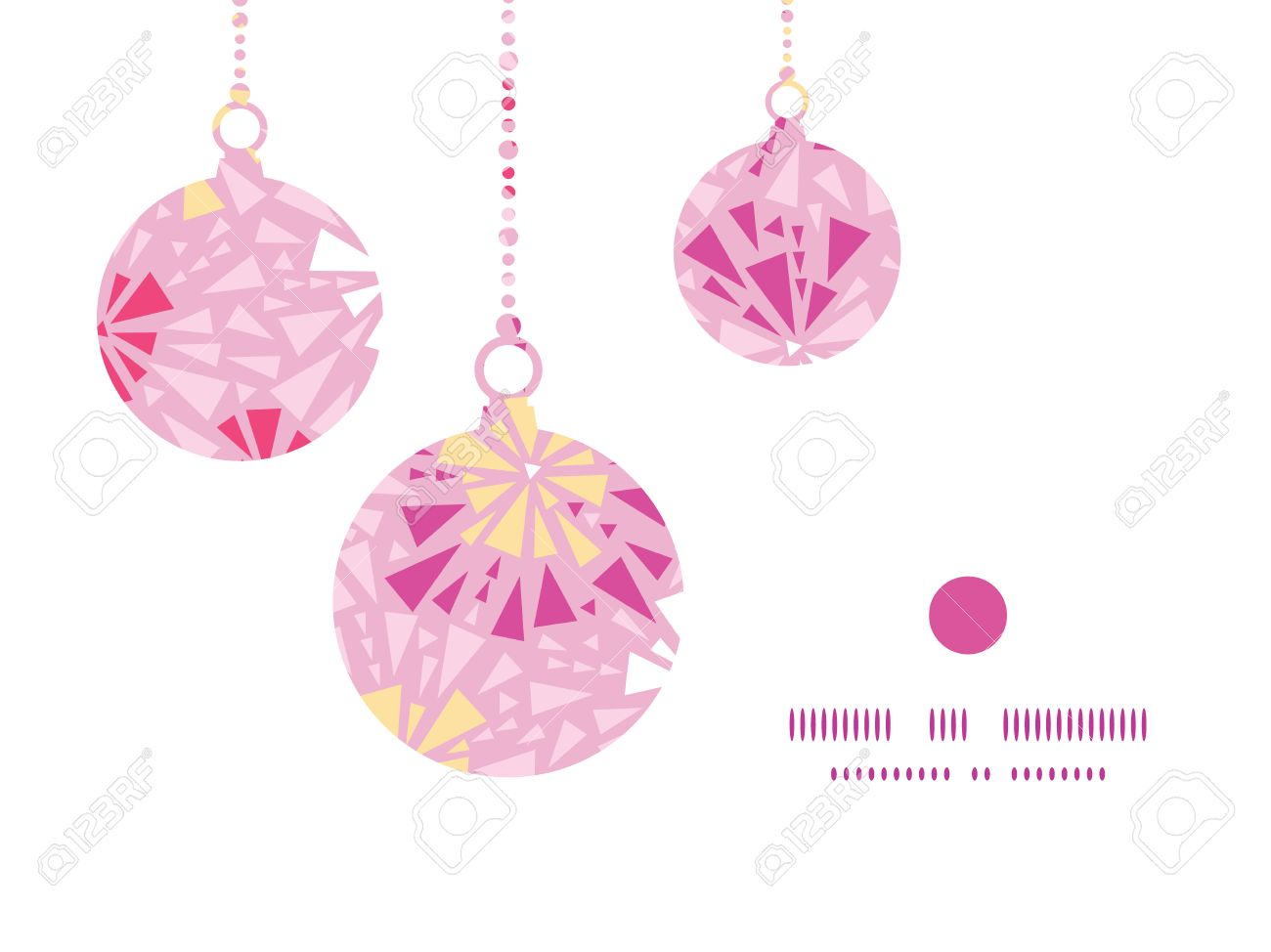 Christmas ornament frame - Vector Vector Pink Abstract Triangles Christmas Ornaments Silhouettes Pattern Frame Card Template