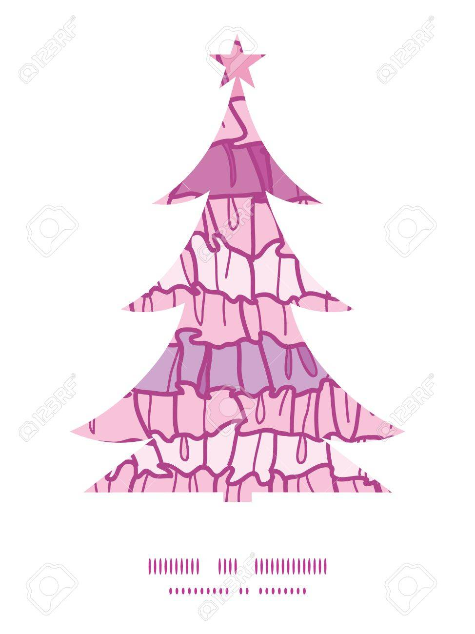 Vector Rosa Rüschen Stoff Streifen Weihnachtsbaum Silhouette Muster ...