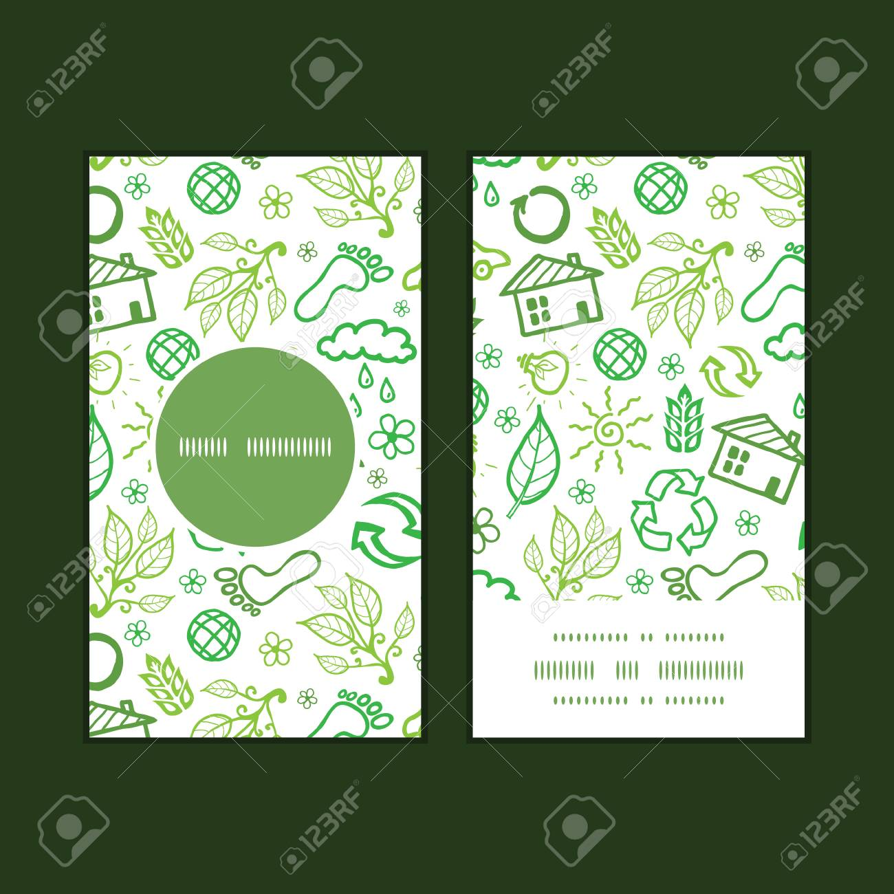 Vector ecology symbols vertical round frame pattern business cards imagens vector ecology symbols vertical round frame pattern business cards set reheart Choice Image