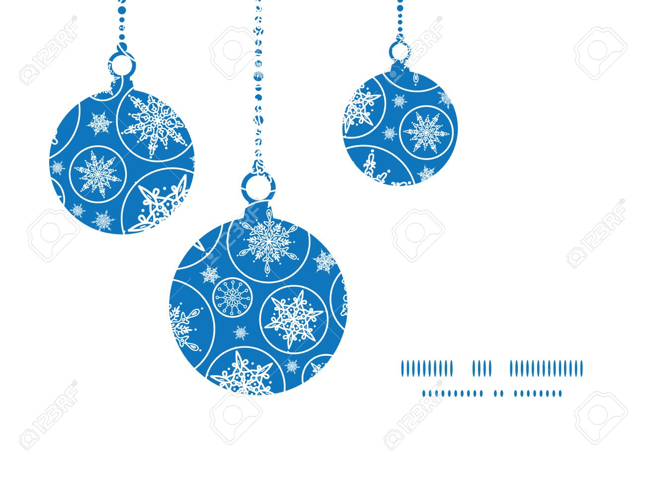 Falling Snowflakes Christmas Ornaments Silhouettes Pattern Frame