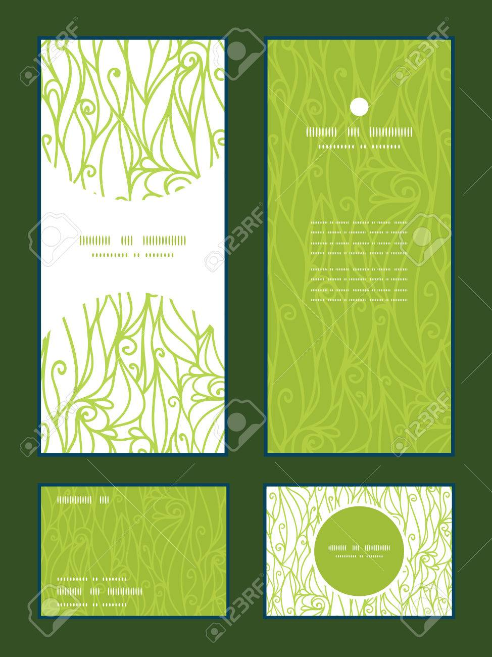 Vector abstract swirls texture vertical frame pattern invitation greeting, RSVP and thank you cards set - 35146393