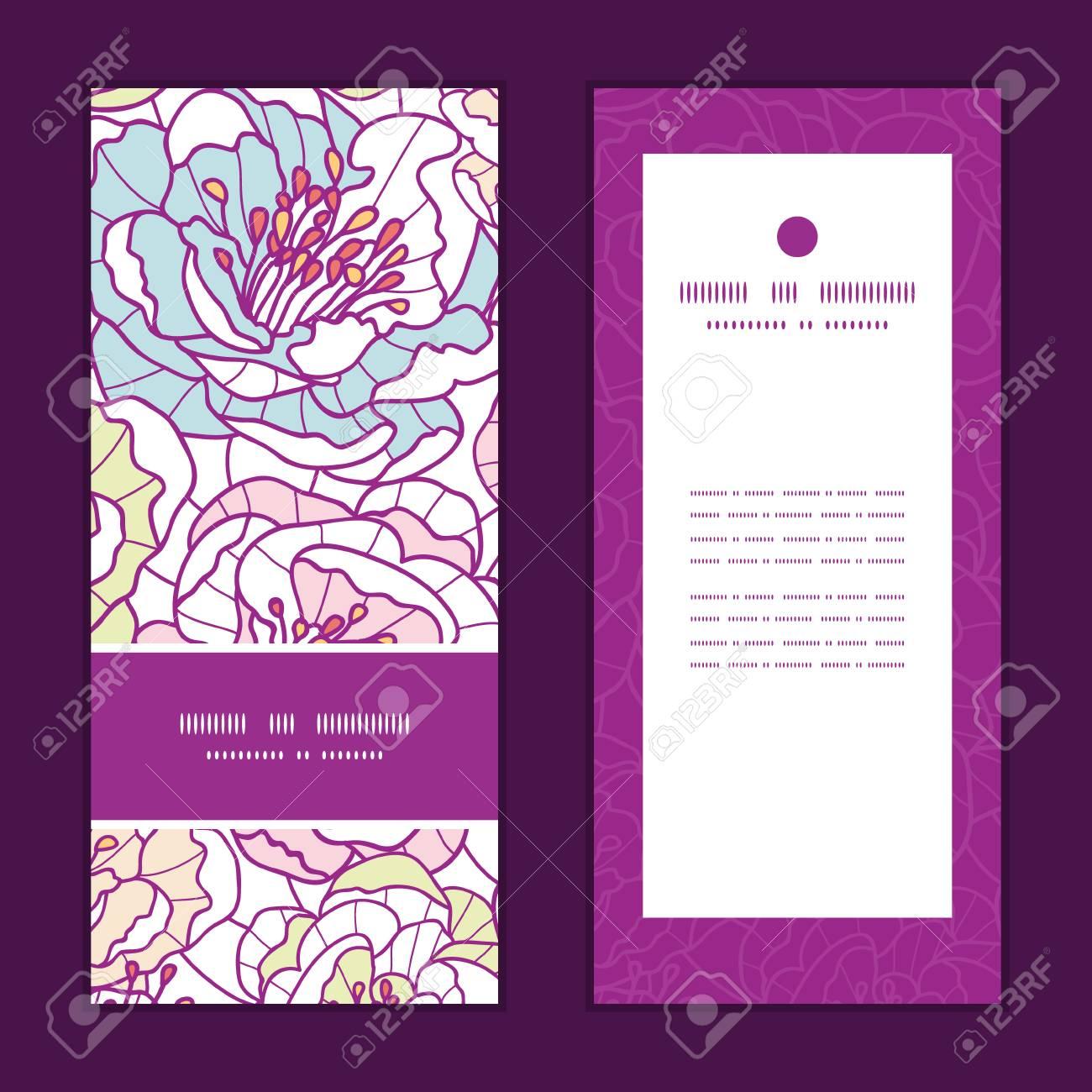 Colorida Línea Vector Flores Del Arte Del Patrón De Serie De Tarjetas De Invitación Verticales Configuran