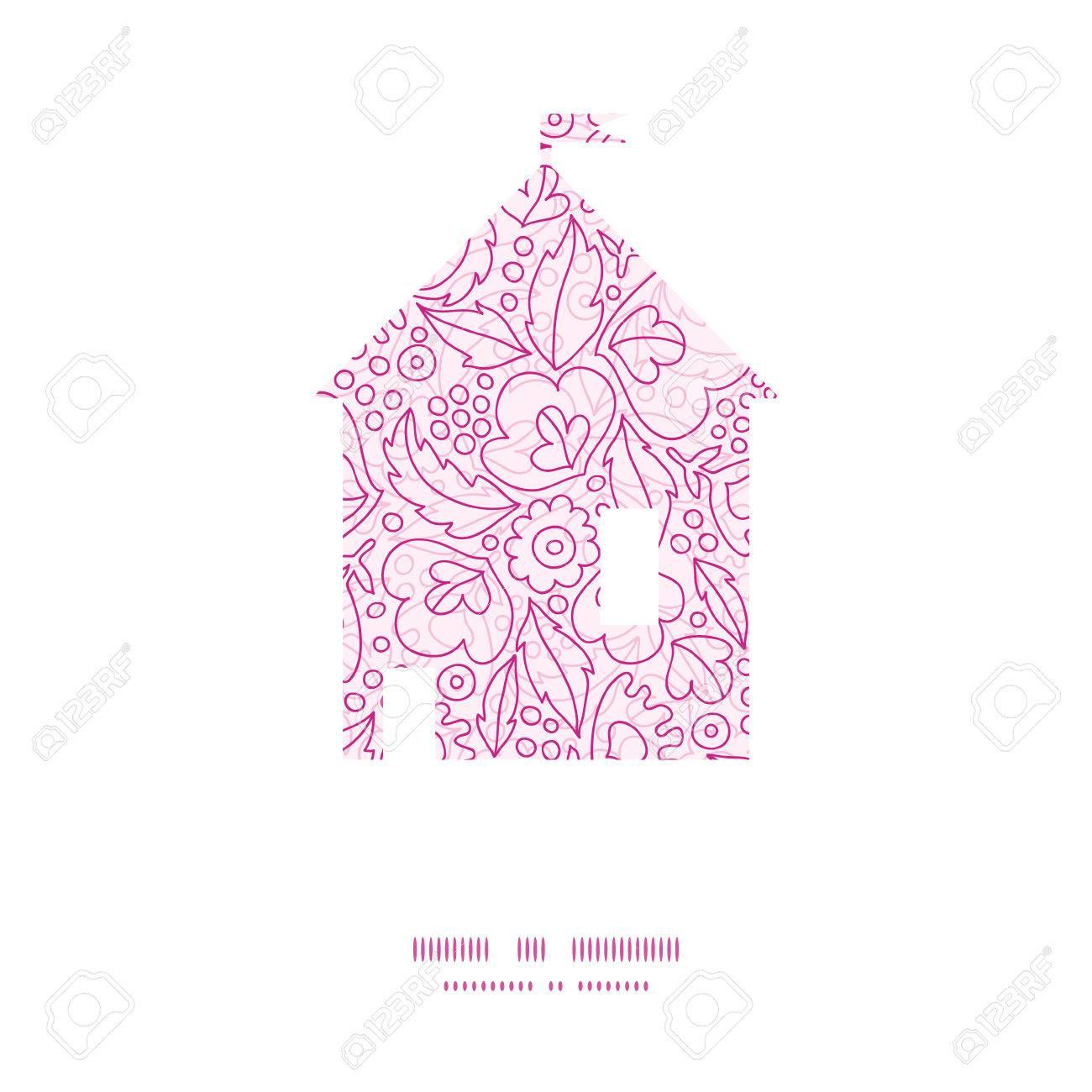 Vector Rosa Blüten Lineart Haus Silhouette Musterrahmen Lizenzfrei ...
