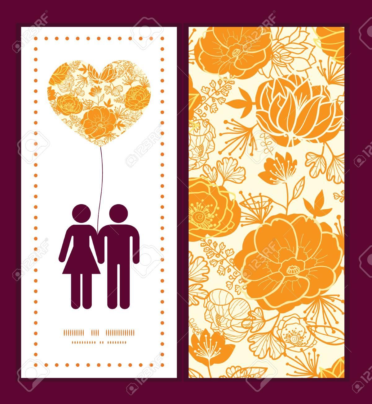 Vector Flores Del Arte De Oro Pareja En Amor Siluetas Patrón De ...