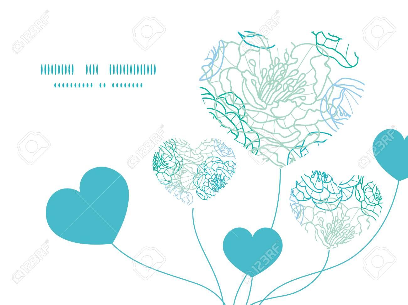 Vector Línea Azul Flores Del Arte Del Corazón Plantilla De Patrón ...