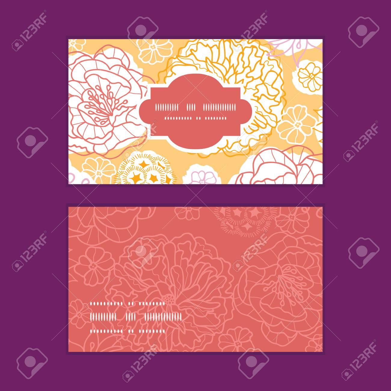 Vector Chaleureuse Jour Fleurs Cadre Horizontal Motif Cartes De