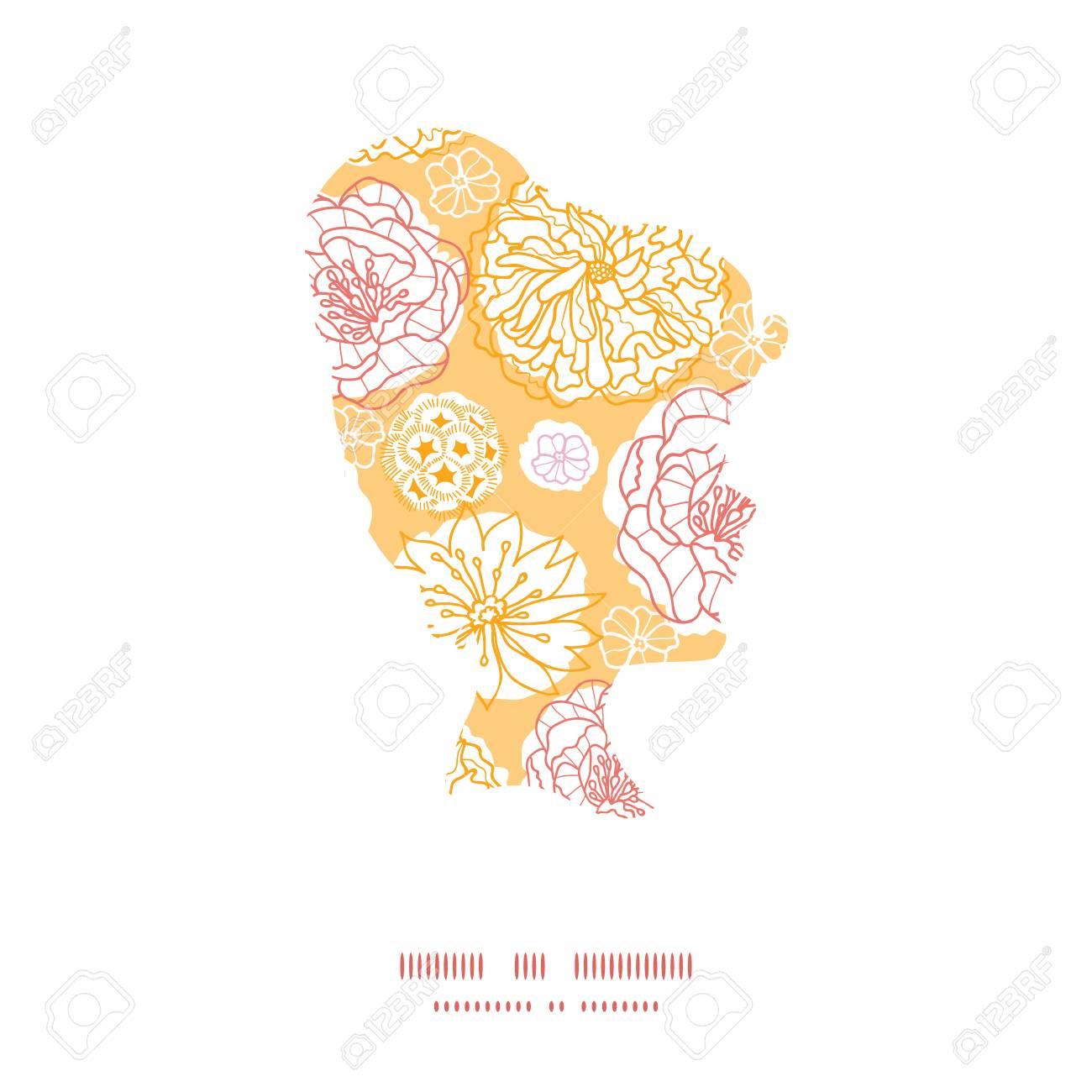 Vector Flores Cálidos Días Silueta Niña Retrato Marco Modelo ...