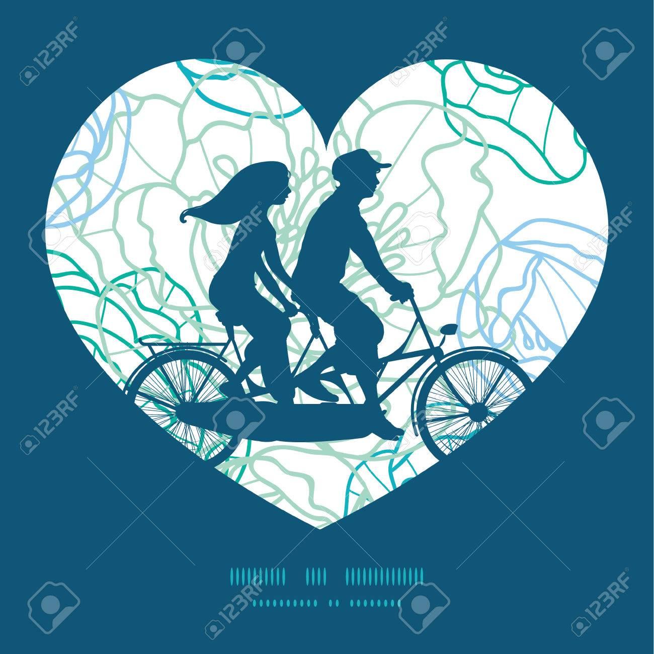 Vector Línea Azul Flores Del Arte Pareja En Corazón Bicicleta ...