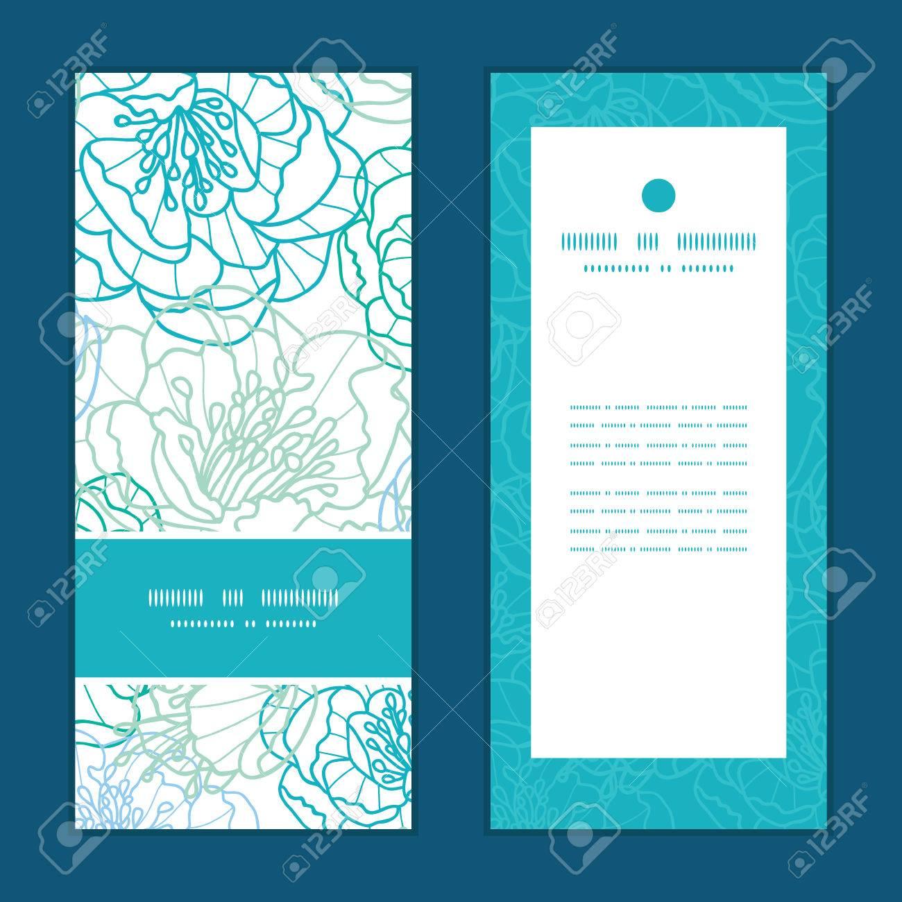 Vector Línea Azul Flores Del Arte Del Patrón De Serie De Tarjetas De Invitación Verticales Configuran