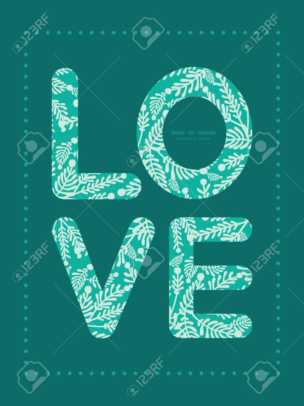 Vector Emerald Green Plants Love Text Frame Pattern Invitation
