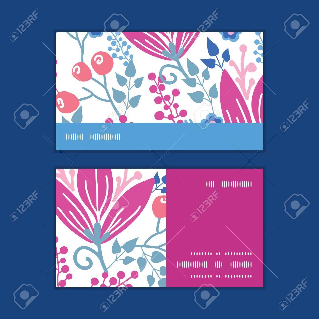 Vecteur Fleurs Roses Bande Horizontale Motif Dencadrement Cartes De