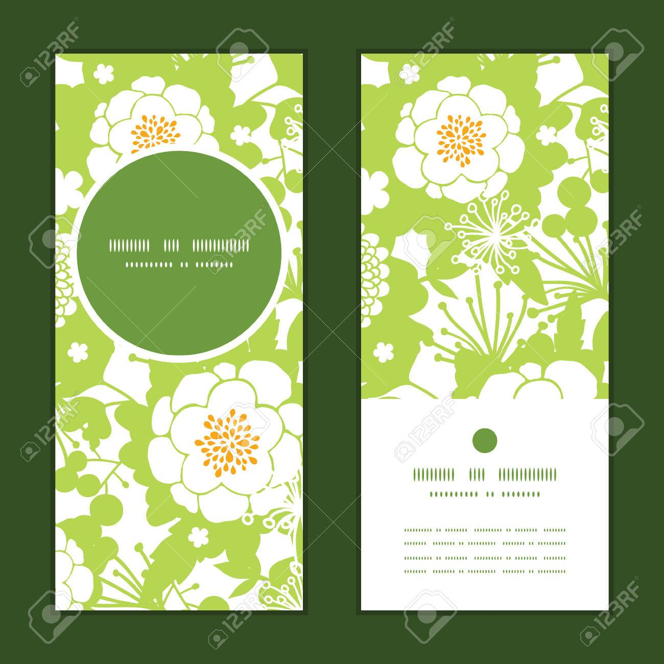 Vector Green And Golden Garden Silhouettes Vertical Round Frame