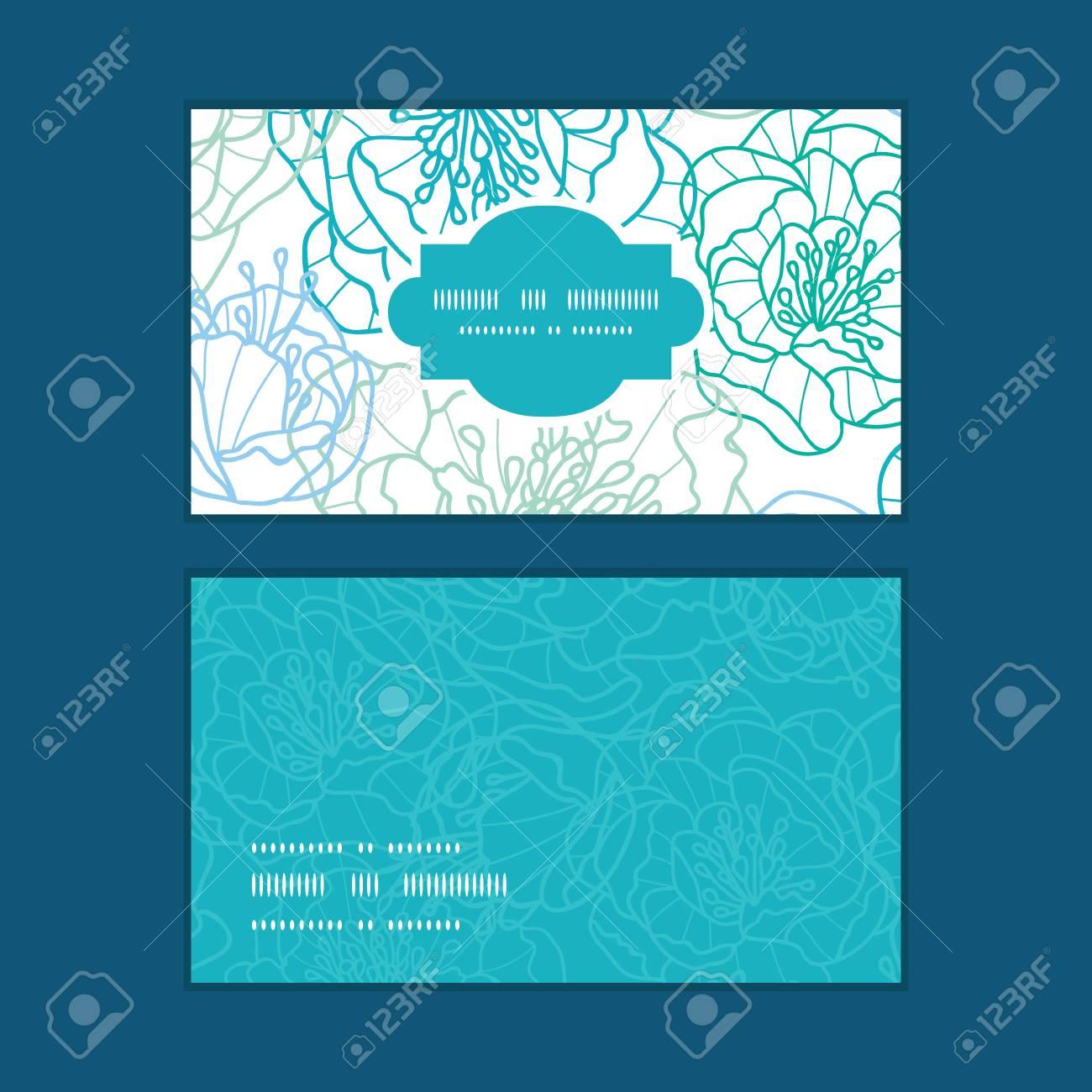 Vector Fleurs Dart De La Ligne Bleue Trame Horizontale Motif Cartes