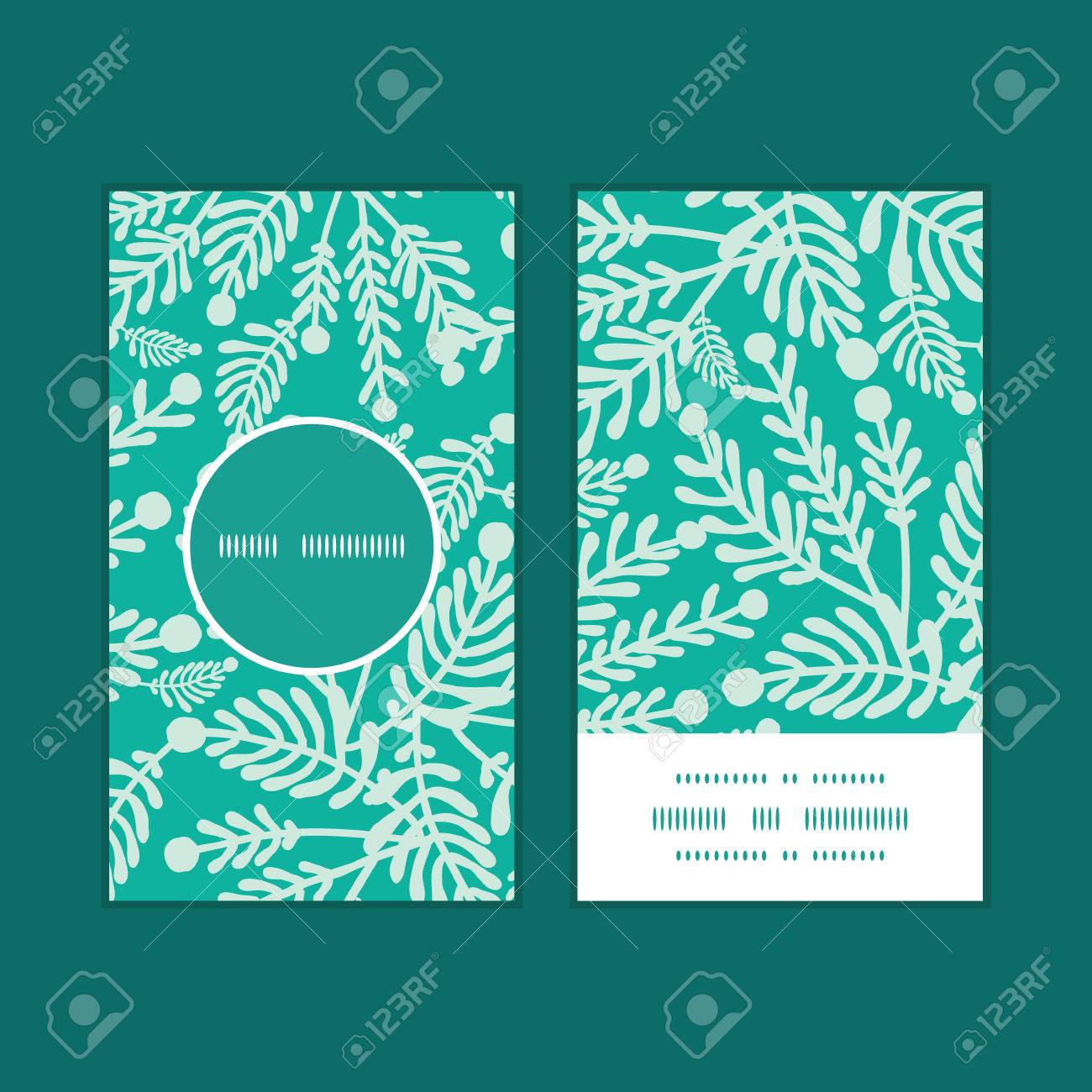 Vector emerald green plants vertical round frame pattern business vector vector emerald green plants vertical round frame pattern business cards set reheart Gallery