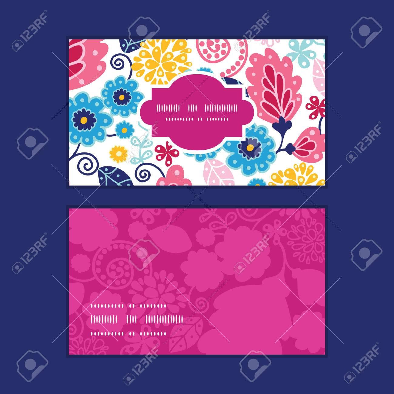 Vector Fleurs Feeriques Cadre Horizontal Motif Cartes De Visite