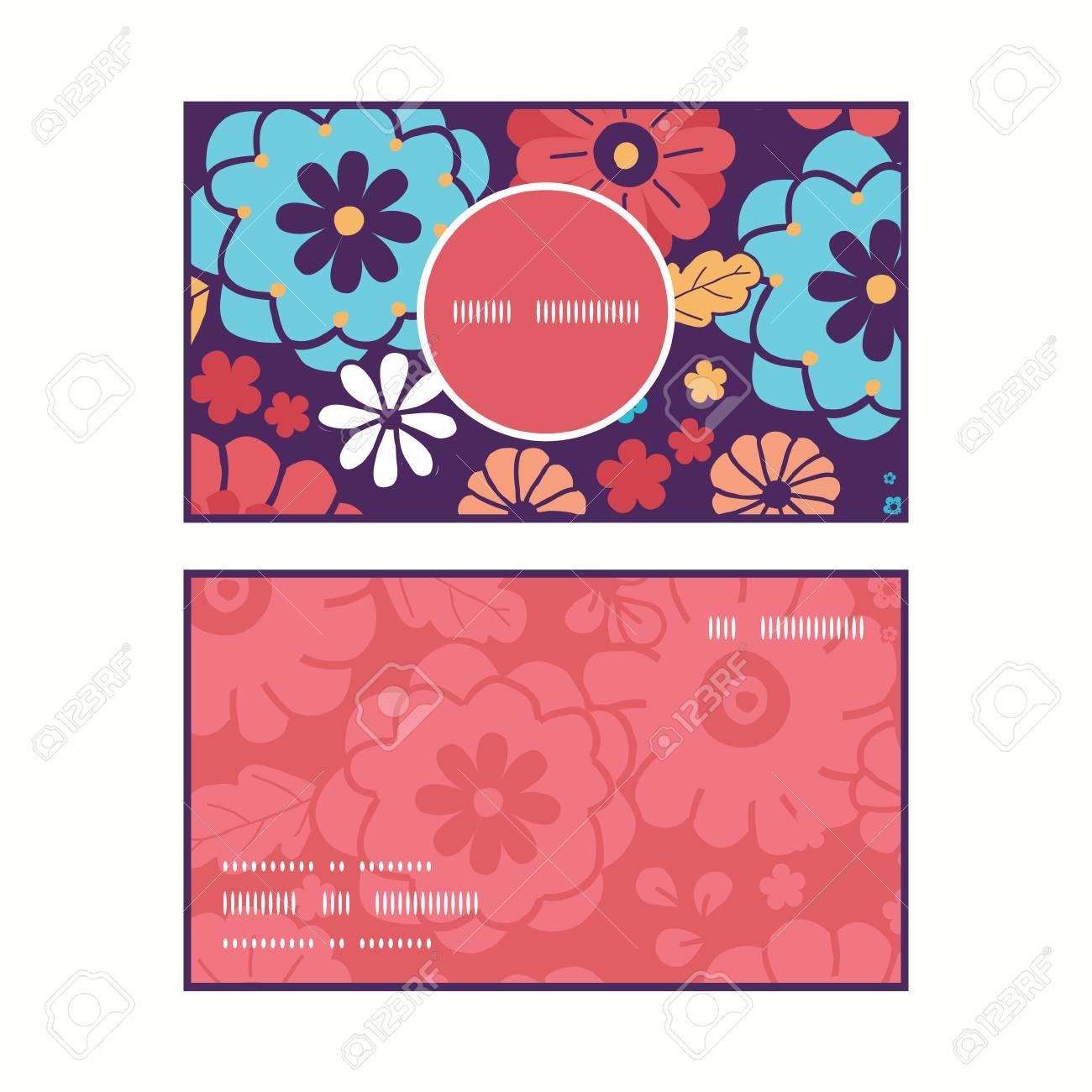 Vector Fleurs Colorees Verticales Bouquet Cadre Rond Motif Cartes De