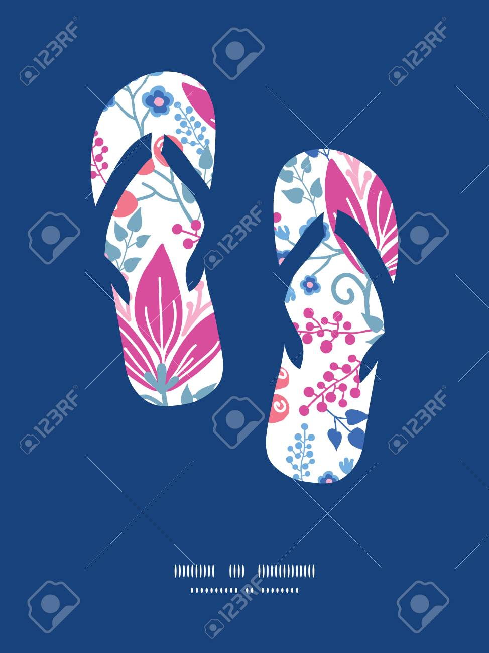 Vector Pink Flowers Flip Flops Silhouettes Pattern Frame Royalty