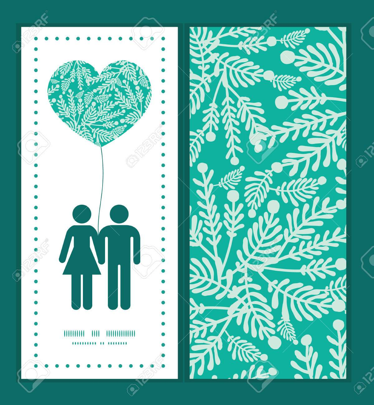 Vector Emerald Green Plants Couple In Love Silhouettes Frame