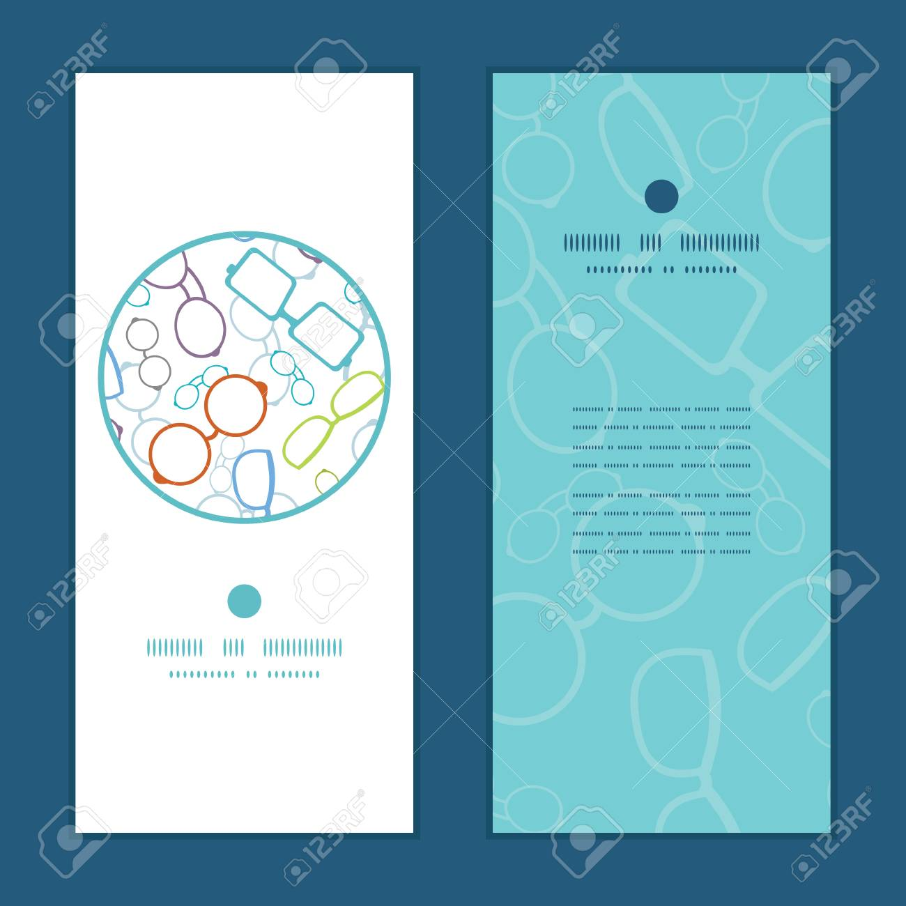 Vector colorful glasses vertical round frame pattern invitation greeting cards set - 35997432