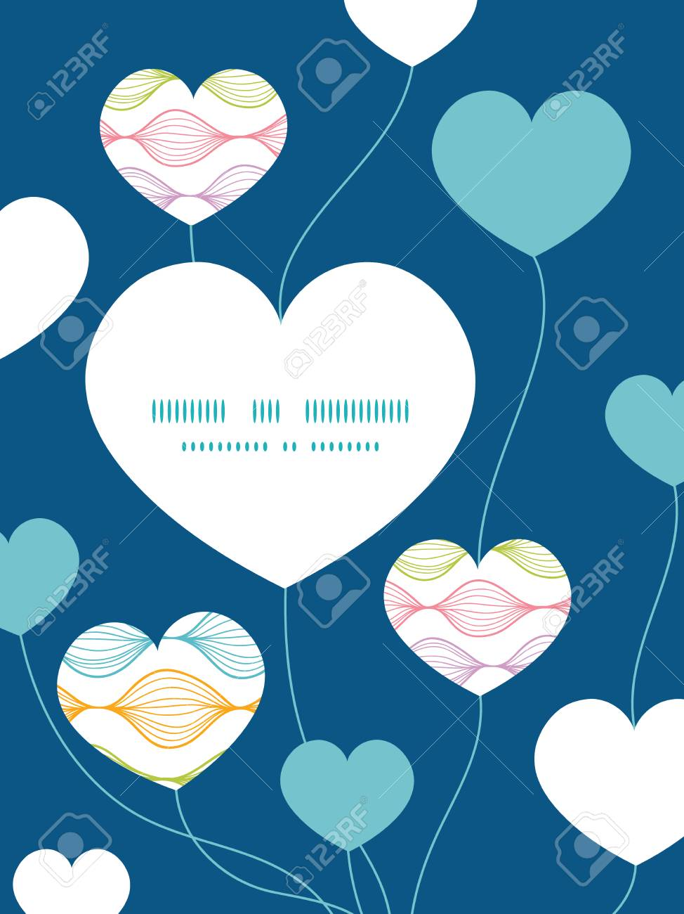 Vector Colorful Horizontal Ogee Heart Symbol Frame Pattern