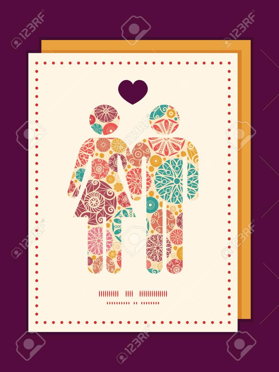 Vector Abstracto Círculos Decorativos Pareja En Amor Siluetas Patrón ...