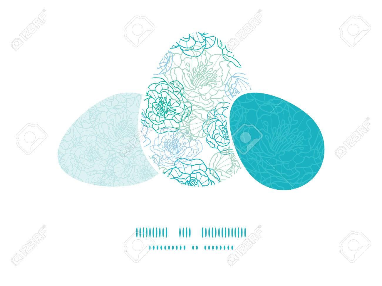 Vector Línea Azul Flores Del Arte De Tres Juego Pascua Sillhouettes ...