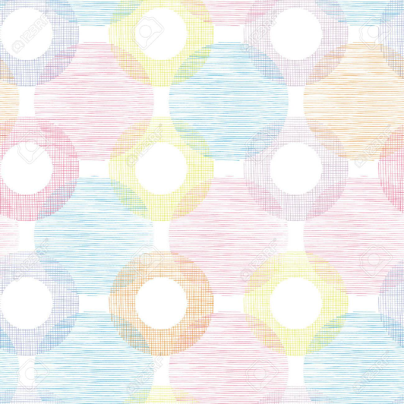Colorful textile circles seamless patter background border Stock Vector - 37207651