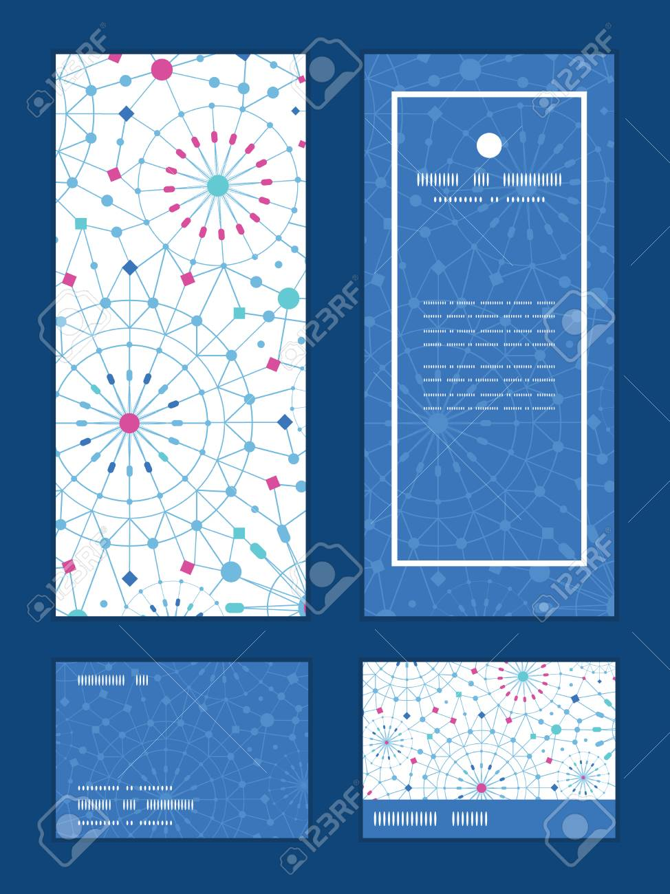 Vector blue abstract line art circles vertical frame pattern imagens vector blue abstract line art circles vertical frame pattern invitation greeting rsvp and thank you cards set stopboris Images