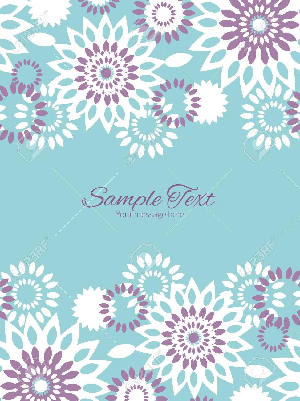 Vector Púrpura Y Azul Plantilla De Invitación Marco Floral Abstracta ...