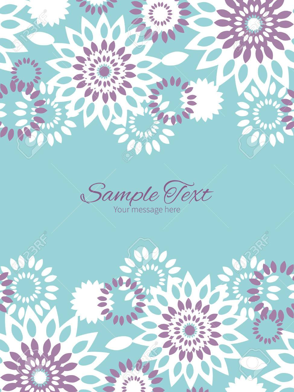 Vector Purple And Blue Floral Abstract Vertical Double Borders