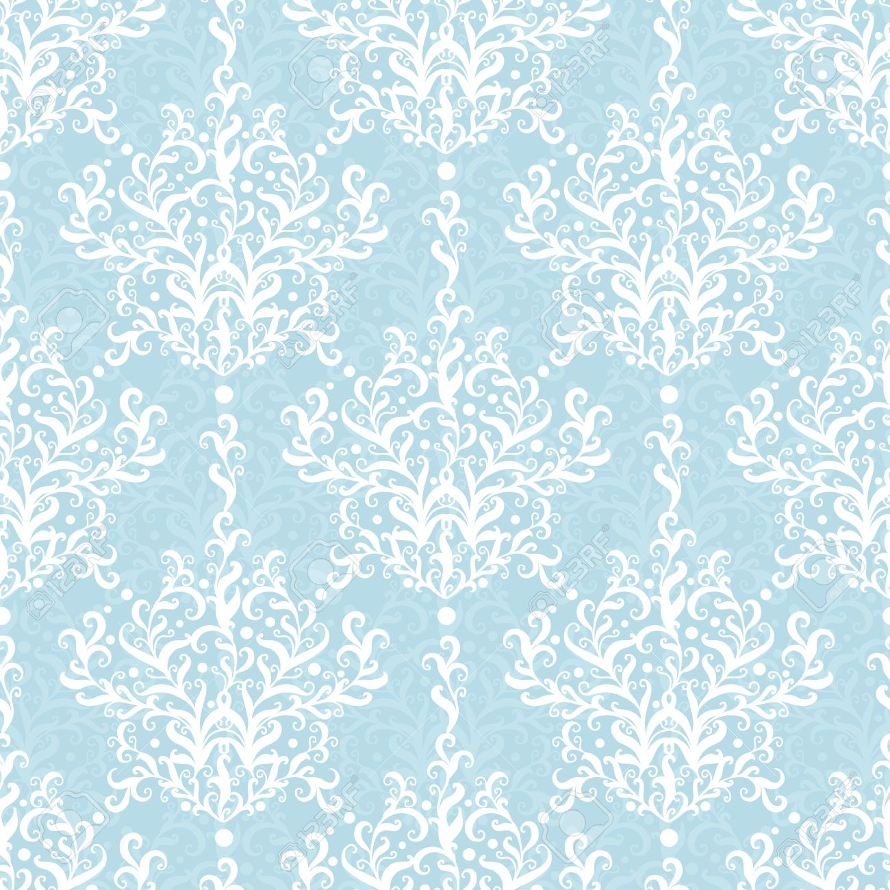 Vintage Vector Light Blue Branches Damask Seamless Pattern