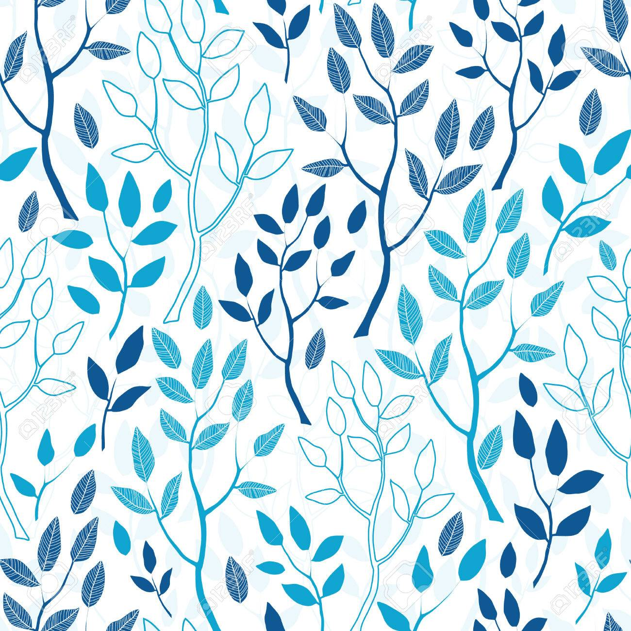 Vector blue forest seamless pattern background - 43404373