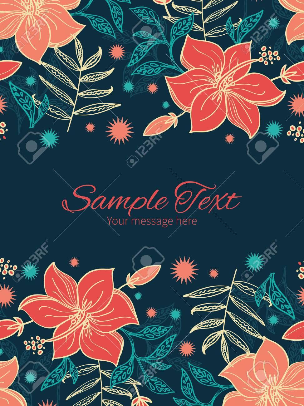 Vector Vibrantes Flores De Hibisco Tropicales Plantilla Invitación ...