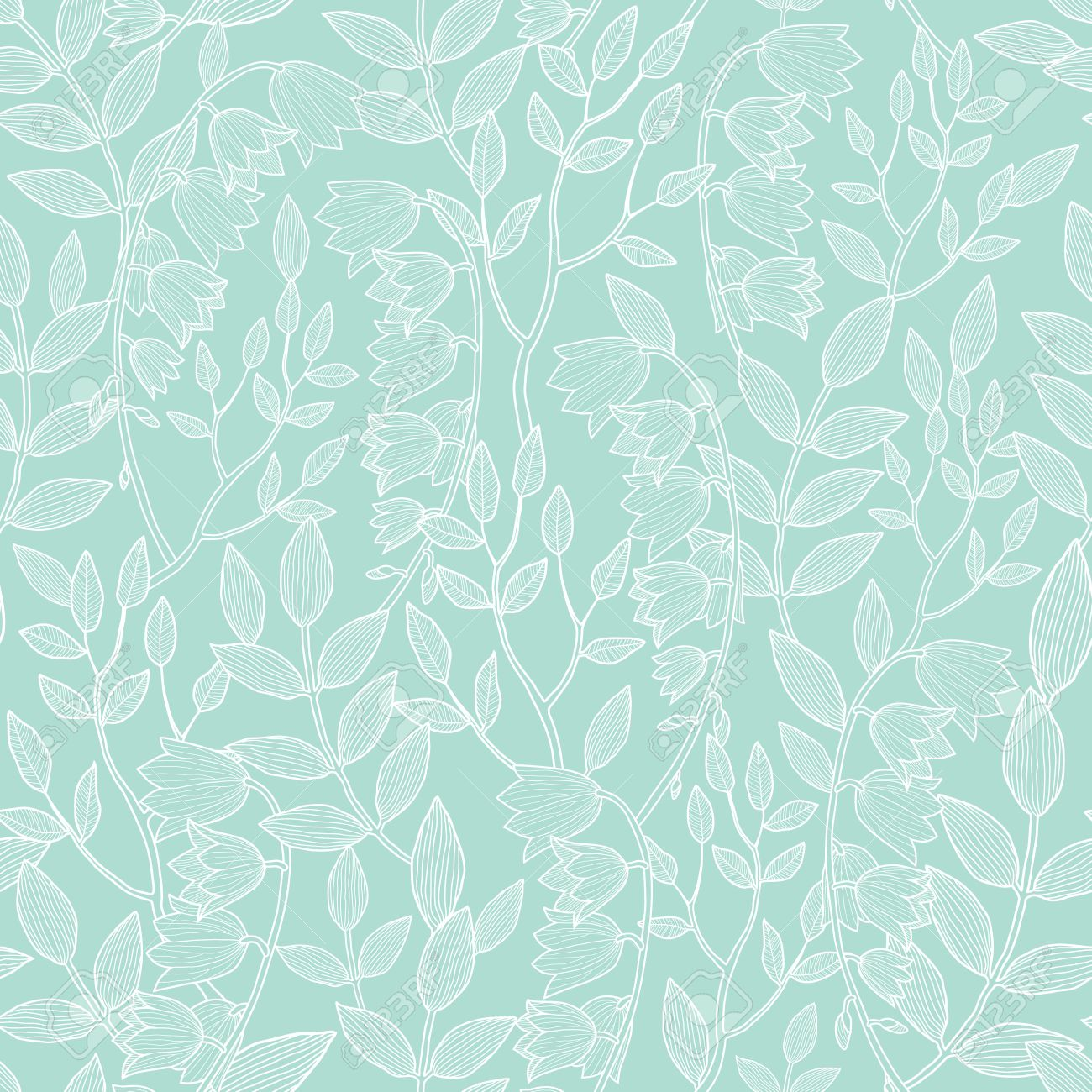 Vector Mint Green Floral Texture Seamless Pattern Royalty Free