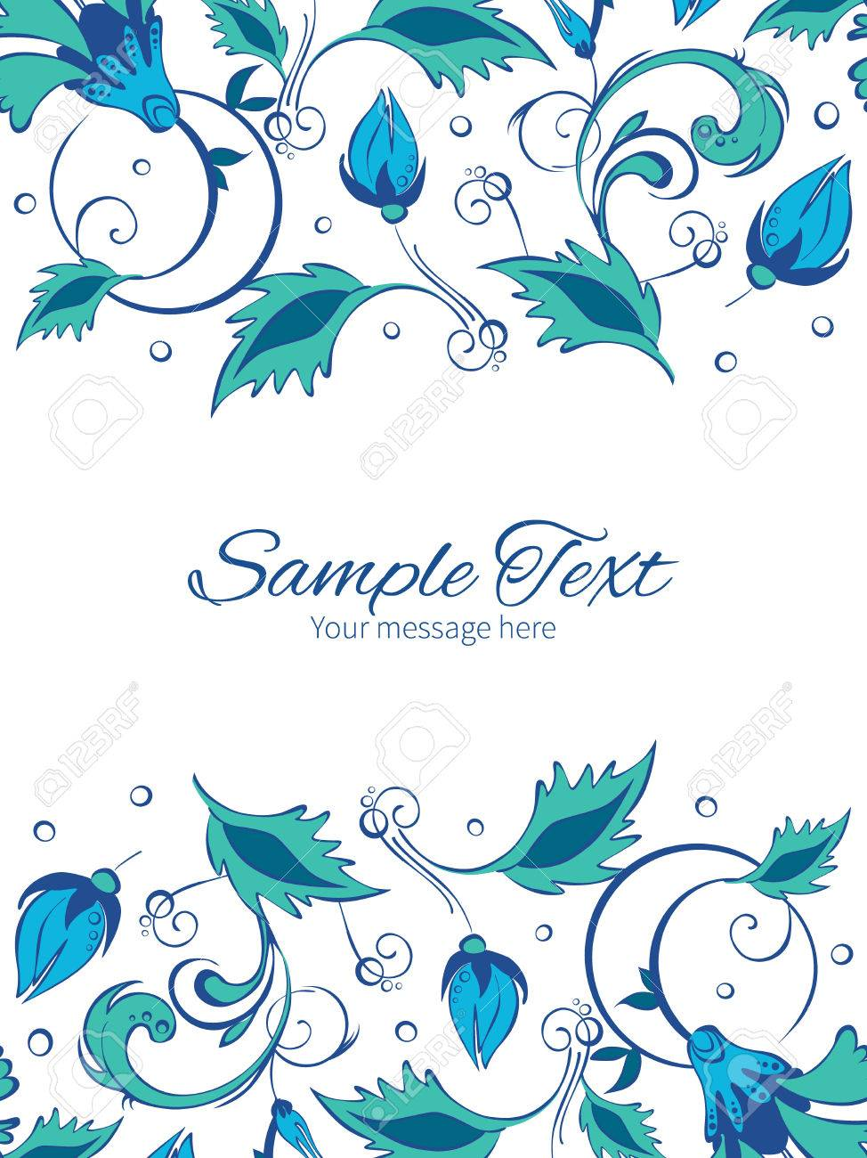 Vector Azul Verde Flores Swirly Plantilla Invitación Marco Fronteras ...