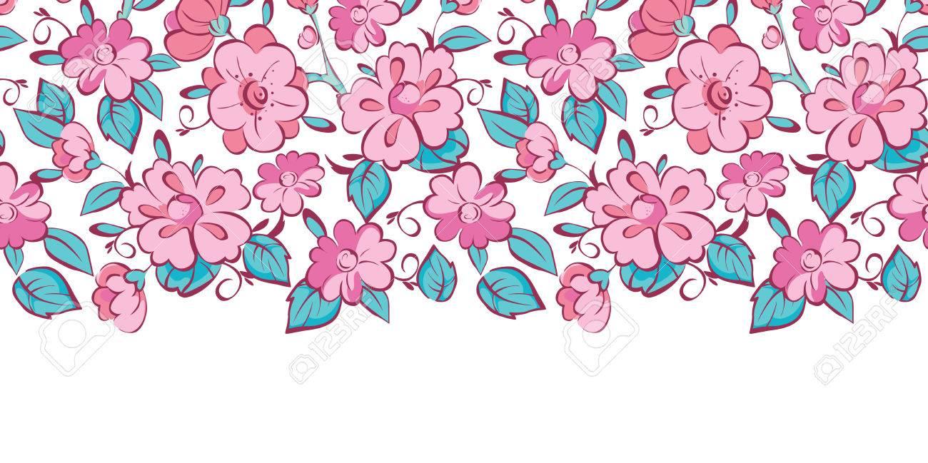 Vector De Color Rosa Flores Azules Kimono Borde Horizontal Patrón De ...