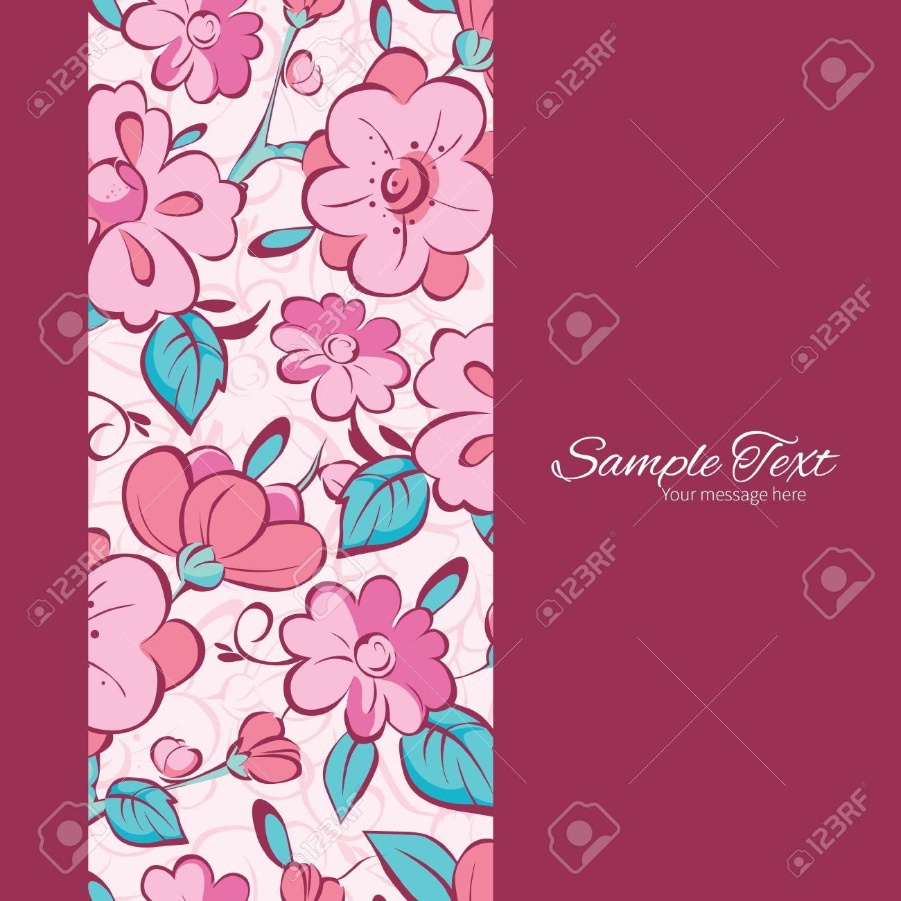 Vector De Color Rosa Flores Azules Kimono Marco Vertical De Fondo ...