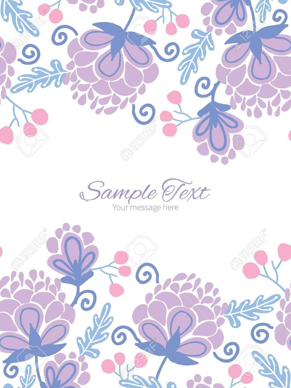 Vectoriales Suaves Flores De Color Púrpura Plantilla Invitación ...