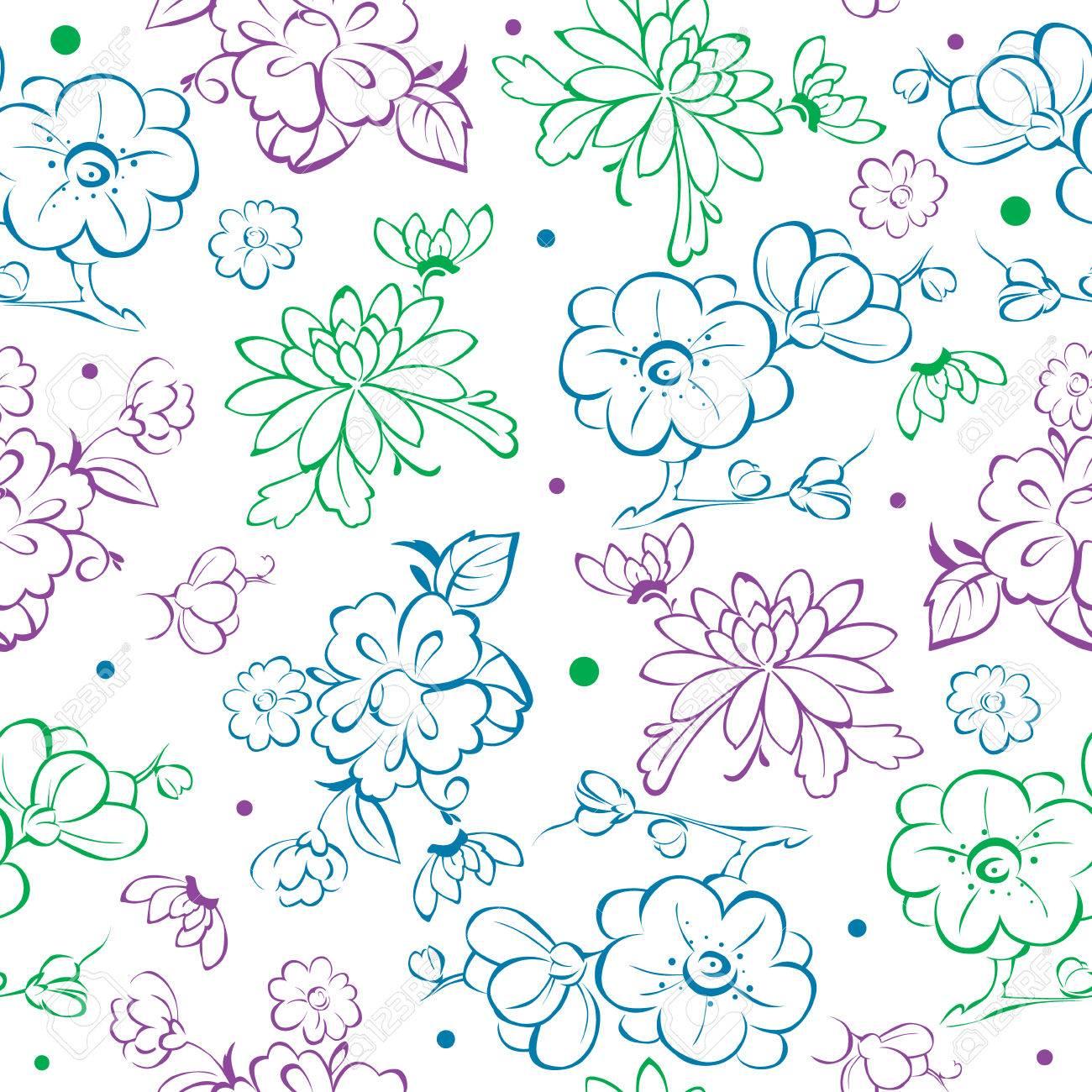 Vector Blue Purple Green Kimono Flowers Drawing Seamless Pattern Graphic Design Stock