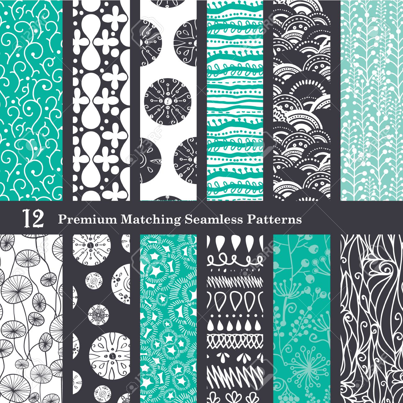 Black Sea Foam Green 12 Set Seamless Patterns graphic design - 42854185