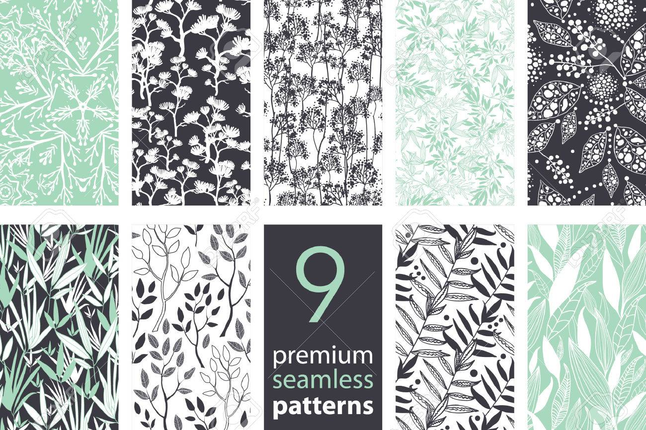Vector 9 Branches Set Seamless Pattern graphic design - 43833051